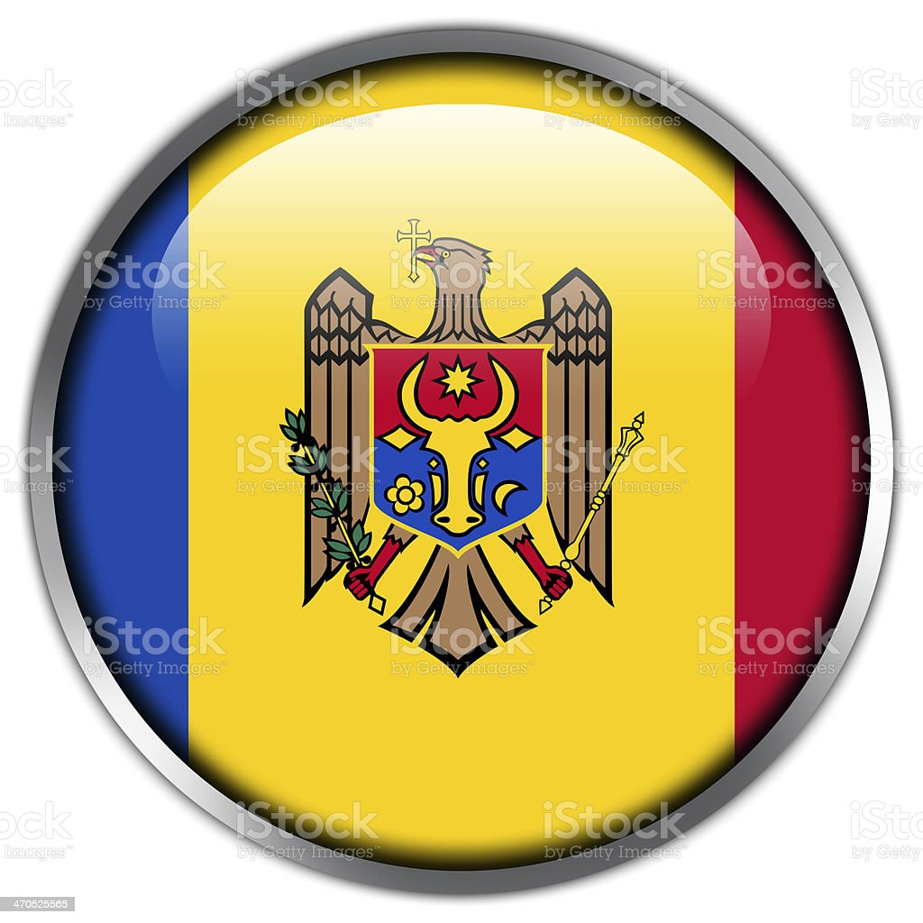 Moldova Flag glossy button stock photo
