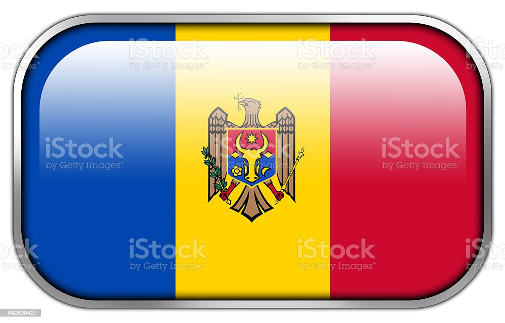 Moldova Flag rectangle glossy button stock photo