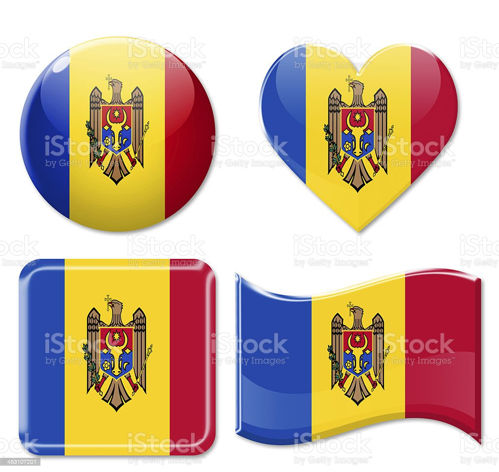 Moldova Flags & Icon Set stock photo