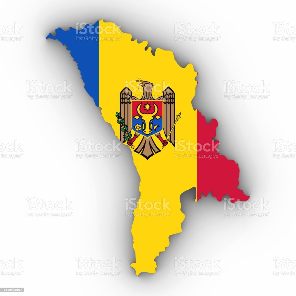 Moldova Map Outline With Moldovan Flag On White With Shadows D - Moldova map outline