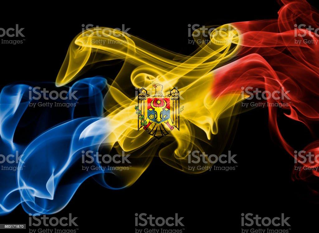 Moldova national smoke flag stock photo
