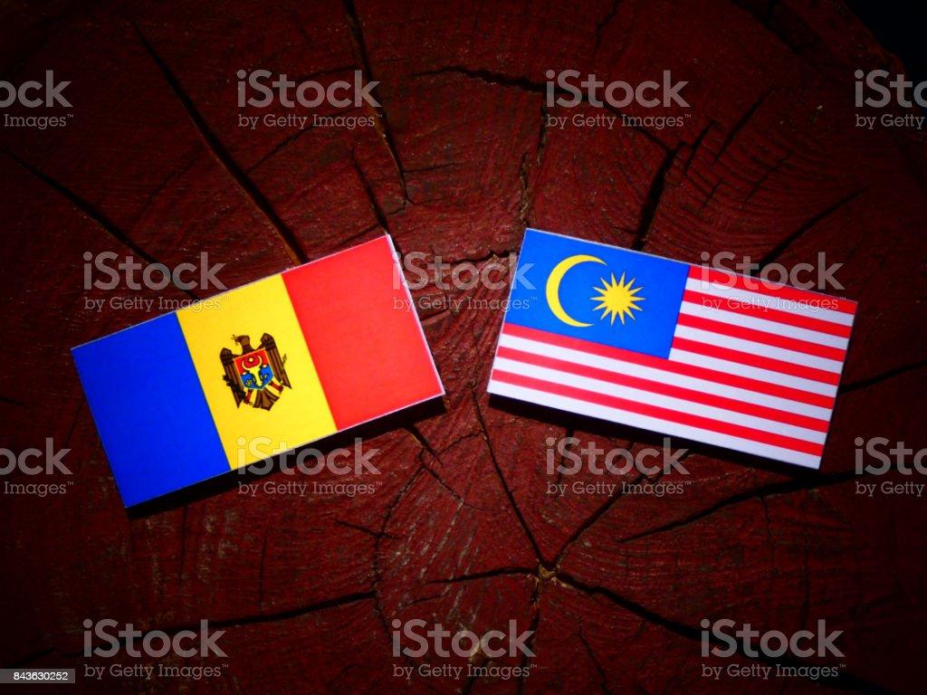 Moldovan flag with Malaysian flag on a tree stump isolated stock photo