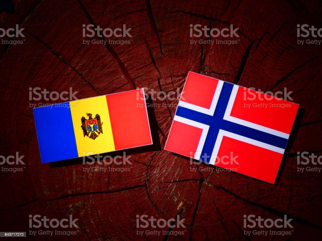 Moldovan flag with Norwegian flag on a tree stump isolated stock photo