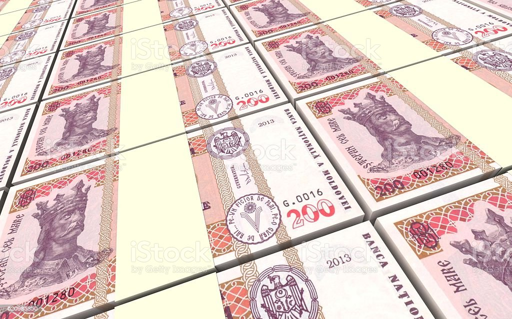 Moldovan leu bills stacks background. foto royalty-free