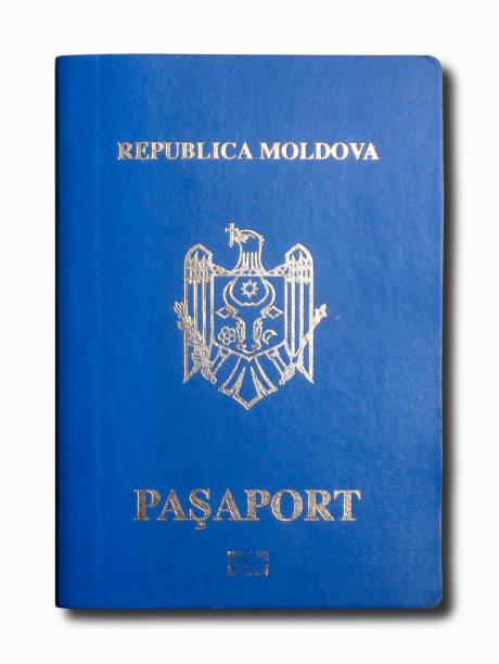 Moldovan passport isolated on a white background stock photo
