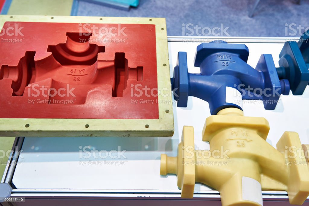 Molds and plastic products stock photo