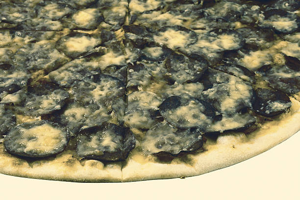 Moldy pizza on white background stock photo