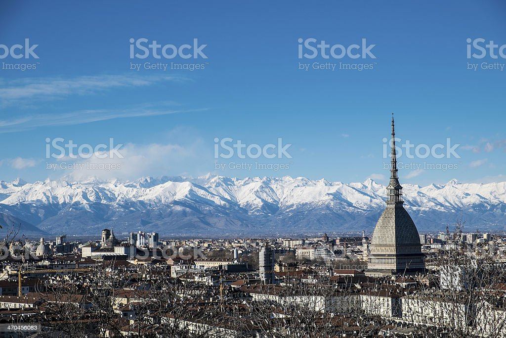 Mole Antonelliana and Alps - Royalty-free Aerial View Stock Photo