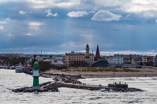 Mole on the Baltic Sea coast in Warnemuende, Germany