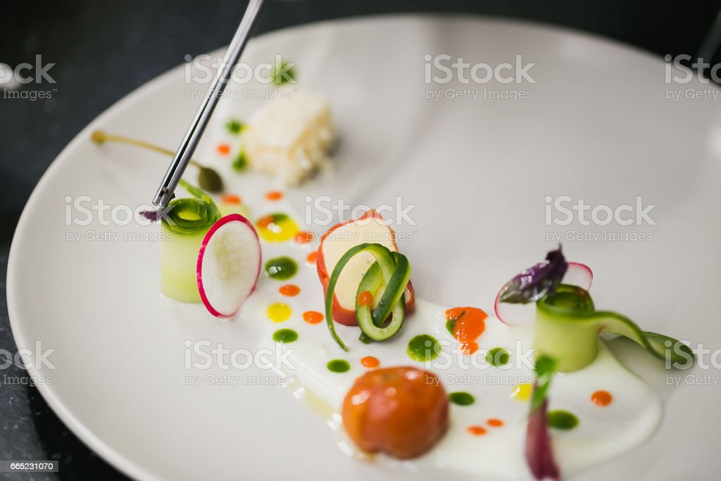 Molecular food on a plate stock photo