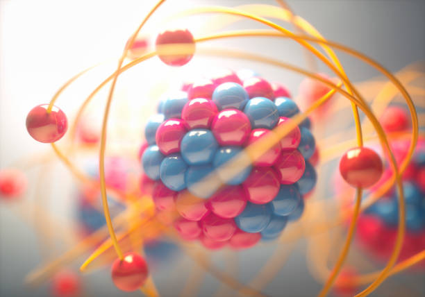 Molecular Model Colorful 3D Illustration of an atom, that is the smallest constituent unit of ordinary matter that has the properties of a chemical element. nuclear power station stock pictures, royalty-free photos & images