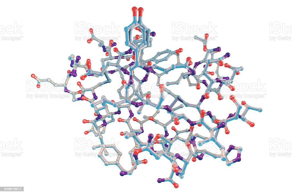 Molecular model of insulin molecule stock photo