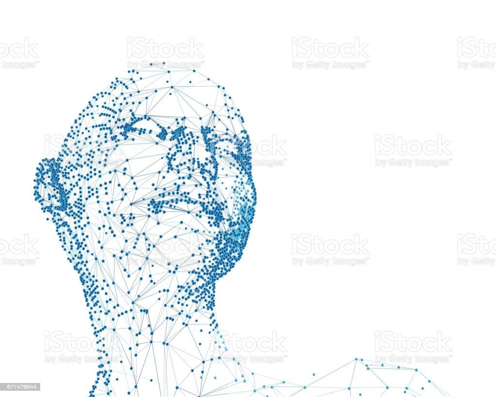 molecular portrait, design element isolated on white stock photo