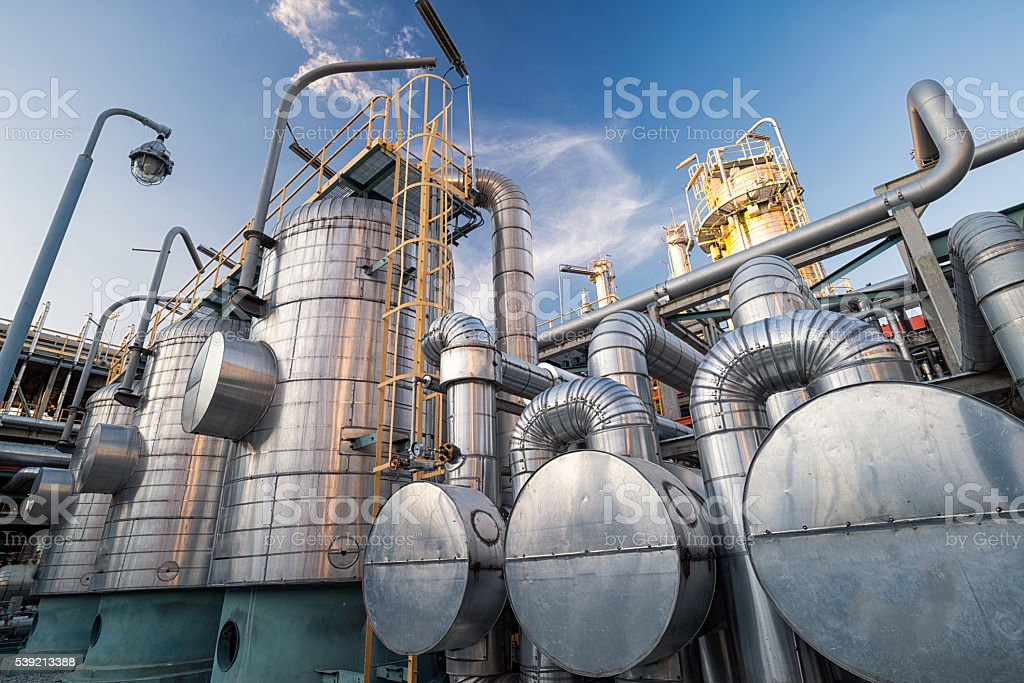 Molecular sieve dehydration system : Oil and gas Refinery stock photo