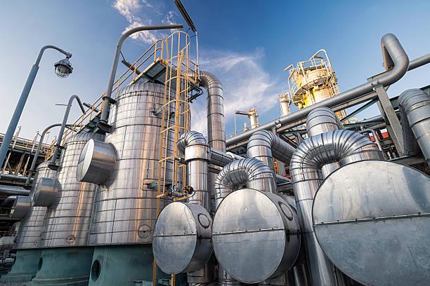 Criba Molecular de deshidratación sistema : Refinería de petróleo y gas - foto de stock