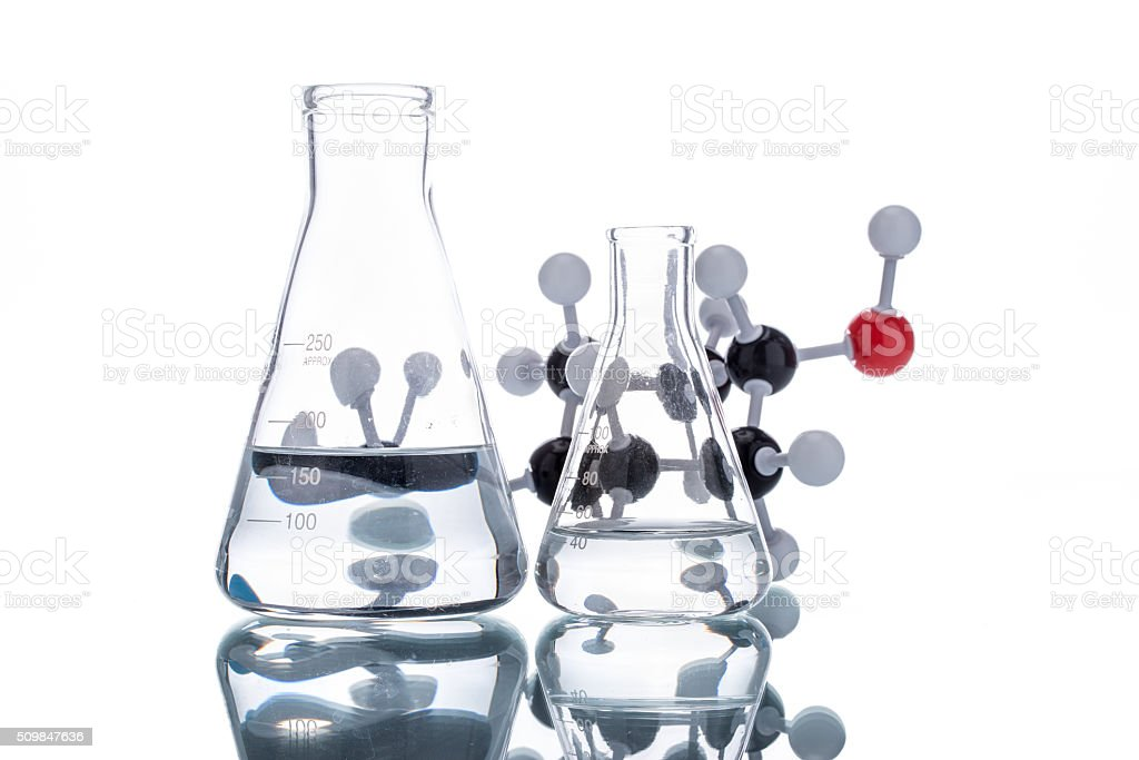 Molecular Structure and Beaker stock photo