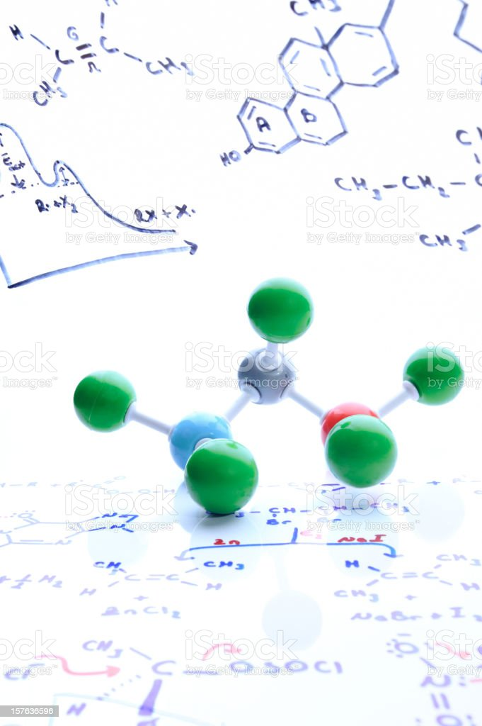 Molecular structure and chemistry formulas royalty-free stock photo