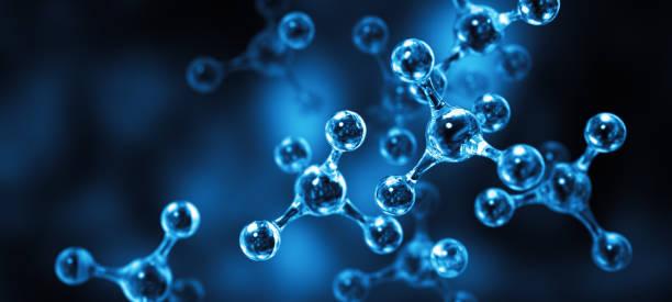 Molecular Structure Blue Dark stock photo