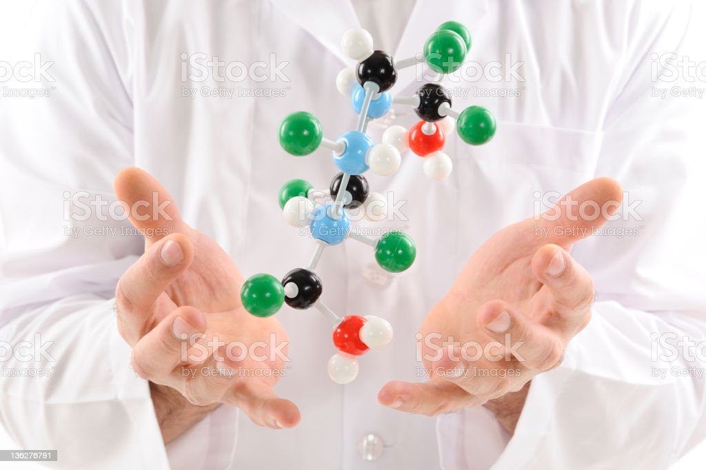 Molecular structure flying over hands royalty-free stock photo