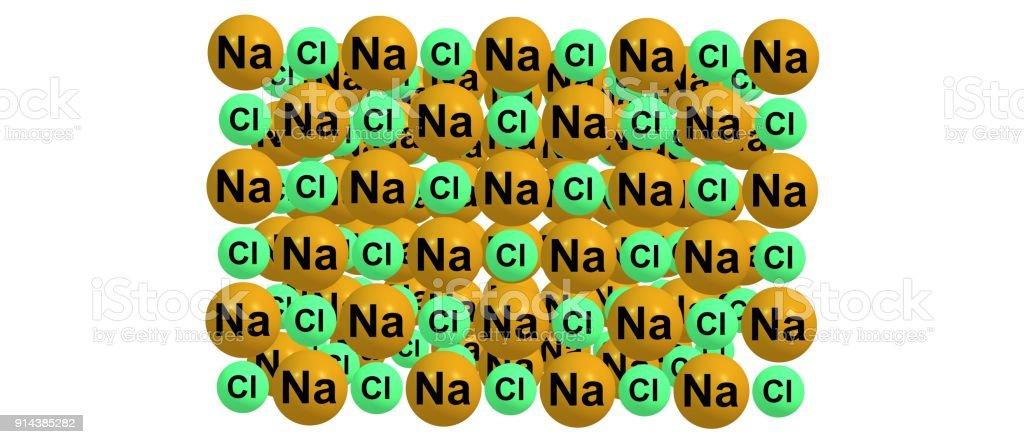 Molecular Structure Of Sodium Chloride On White Background Stock