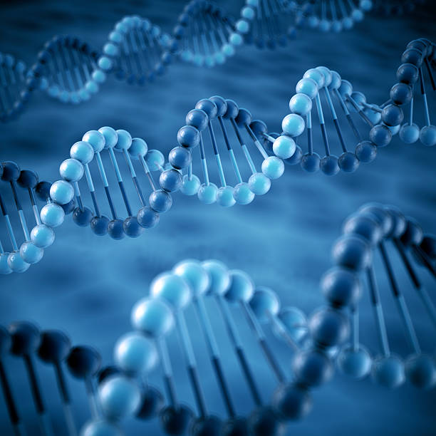 DNA Molecule Blue Background 3D Render of simplified DNA molecular structures. Depth of field effect. Very high resolution available! Use it for Your own composings! molecule 3d stock pictures, royalty-free photos & images