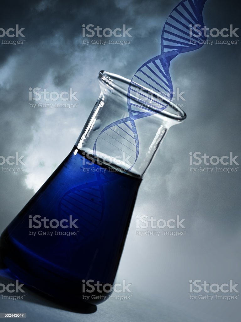 DNA molecule in the flask stock photo