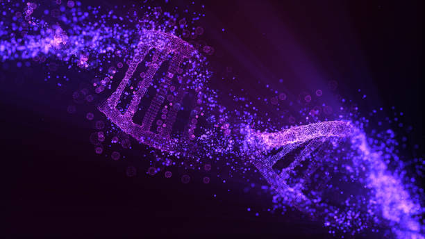 DNA molecule model. Glowing particles stock photo