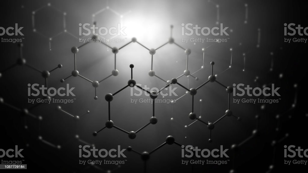 Molecule model or group of atoms stock photo