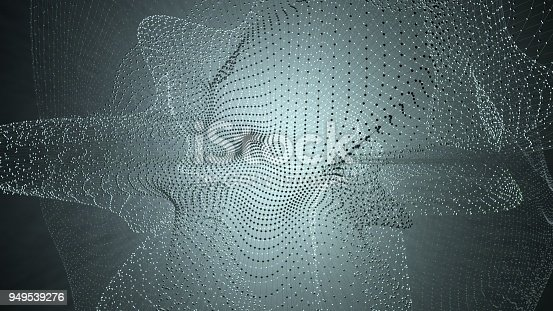 istock Molecule model with connected lines with dots on dark background. Medicine, technology, chemistry or science background. Scientific or medical background with molecules and atoms. 3d illustration 949539276