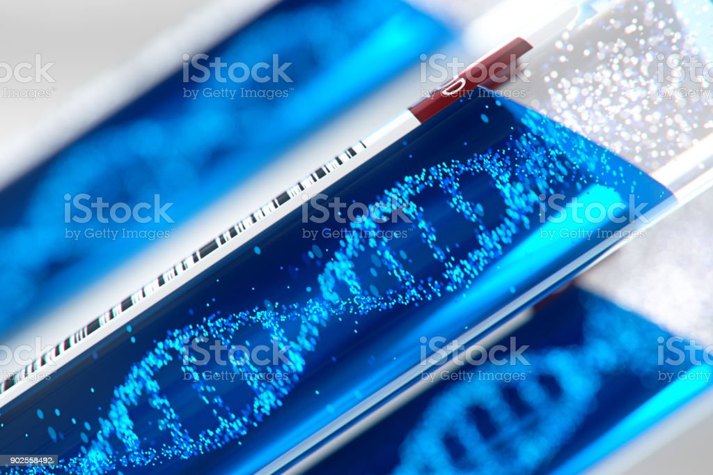 Molecule of DNA forming inside the test tube equipment.3d rendering,conceptual image. stock photo