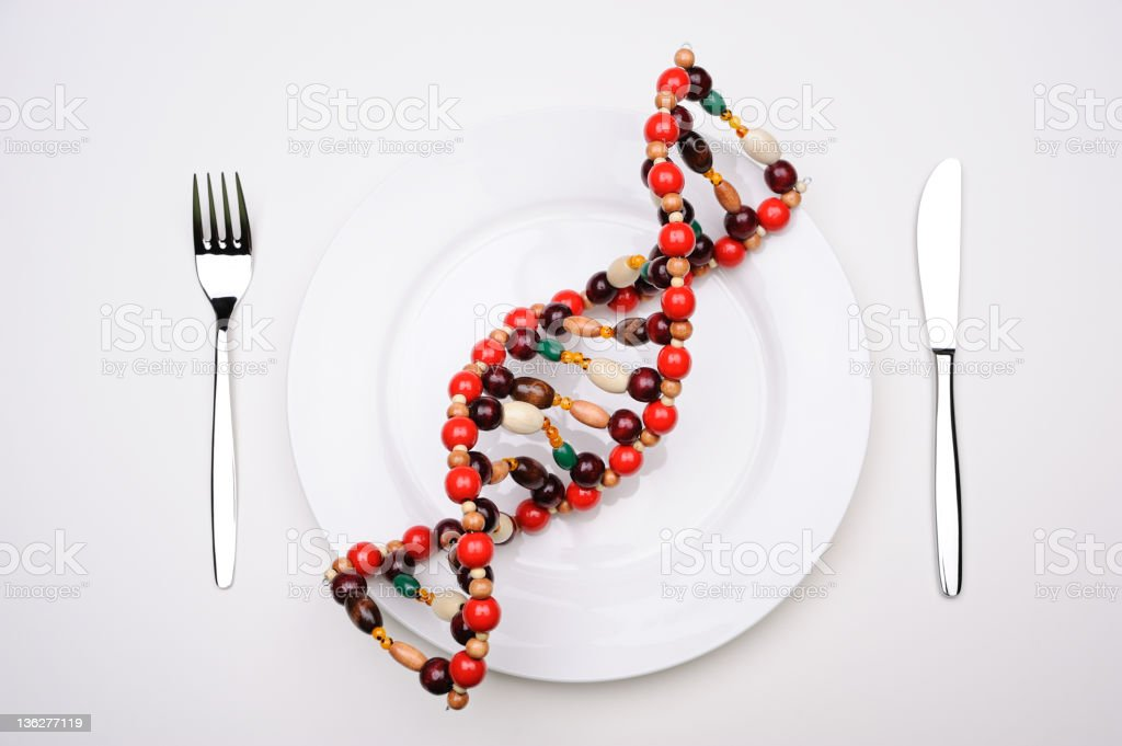 DNA molecule on a plate stock photo