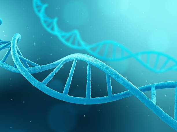 DNA molecule on blue background - foto de stock