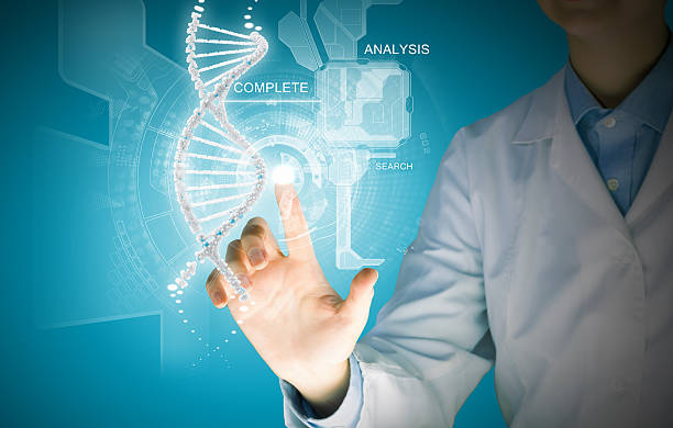 DNA molecule Woman scientist touching DNA molecule image at media screen nucleotide stock pictures, royalty-free photos & images