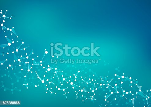 istock Molecule structure dna and neurons, connected lines with dots, genetic and chemical compounds, illustration 807288868