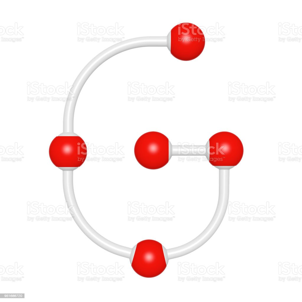 Molecule Structure Like Capital Letter G On White Background