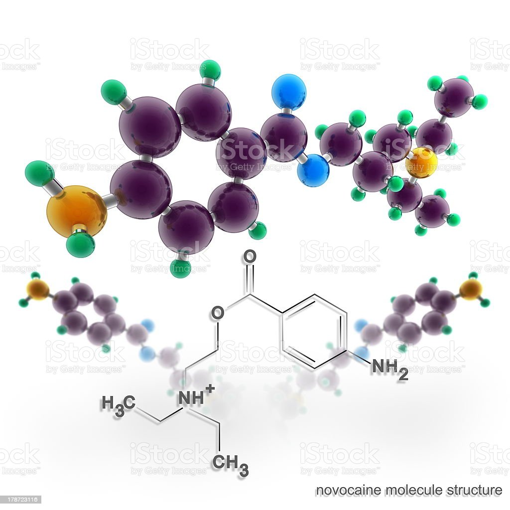 Molecule structure of novocaine stock photo