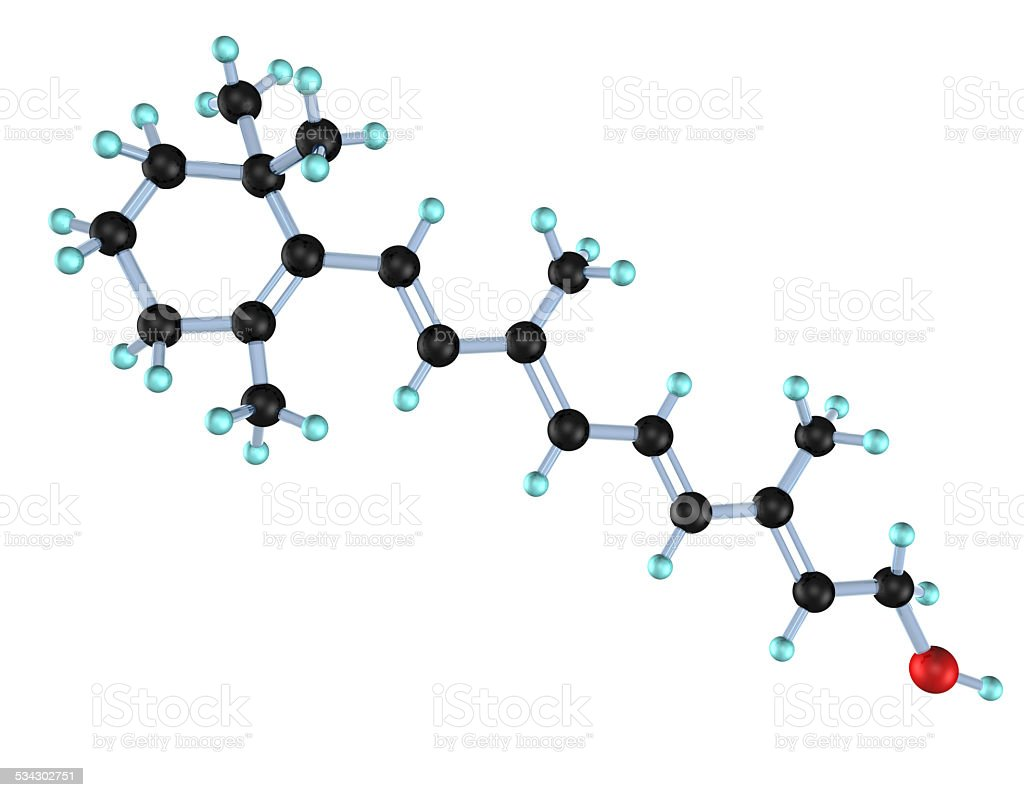 Molecule Vitamin A 3D stock photo
