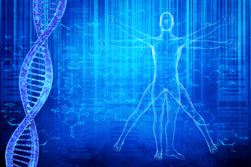 Vitruvian Man image on a blue background with DNA
