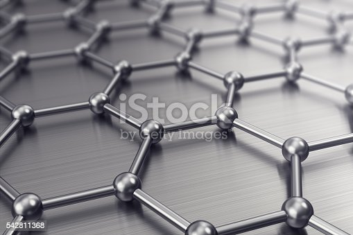 istock Molecules connected, crystallized in the hexagonal system. 3d illustration 542811368