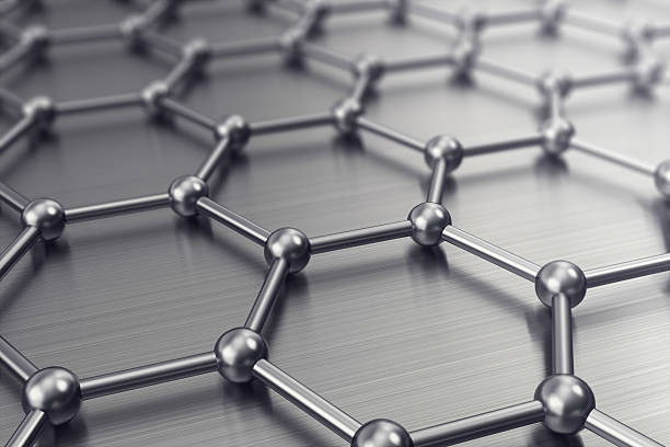 Molecules connected, crystallized in the hexagonal system. 3d illustration stock photo