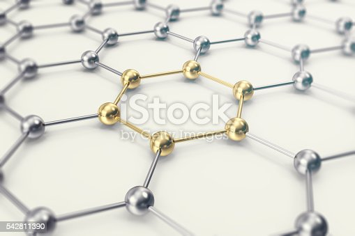 istock Molecules connected, crystallized in the hexagonal system. 3d illustration 542811390