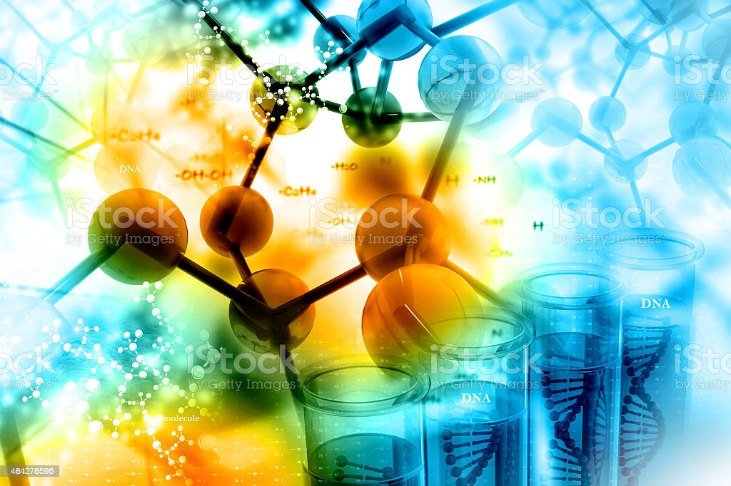 Molecules on scientific background stock photo