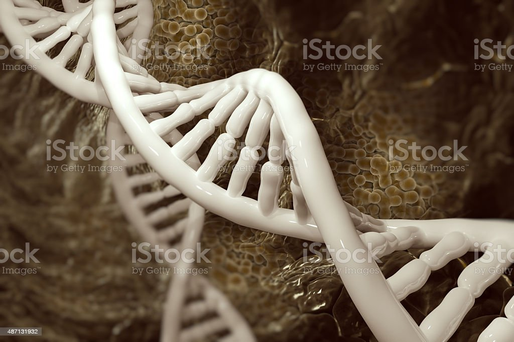 DNA molecules on the beatiful backdrop stock photo