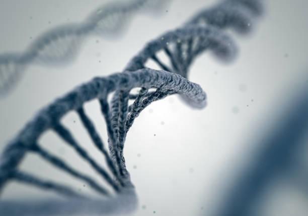 dna molecules on white background - mutazione genetica foto e immagini stock