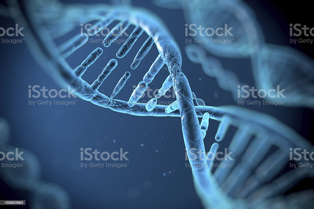 DNA molecules approximate the DNA molecule on a blue background Abstract Stock Photo