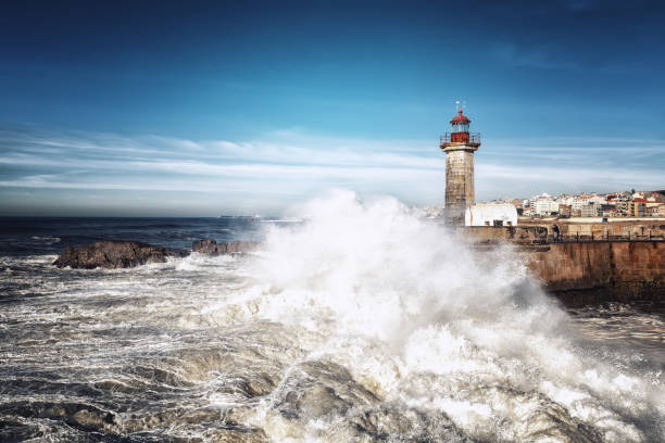 moleh to douro lighthouse - rain clouds porto portugal imagens e fotografias de stock