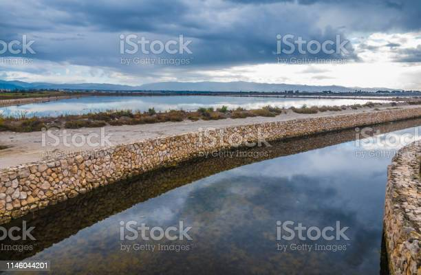 Molentargius Saline Regional Park near Cagliari, Sardinia, Italy. A wetland with fresh and saltwater reservoirs separated by sandy stretches (Arenas) hosting hundreds of sbird species and offering vast breeding grounds for pink flamingos.