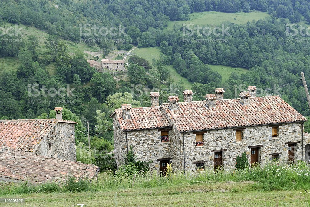 Mollo (Catalonia, Pyrenees, Spain): old house in the green valley stock photo