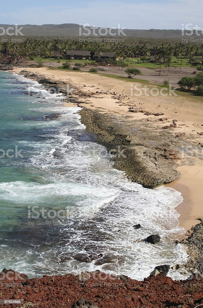 Molokai Hawaii Coastline with Resort stock photo