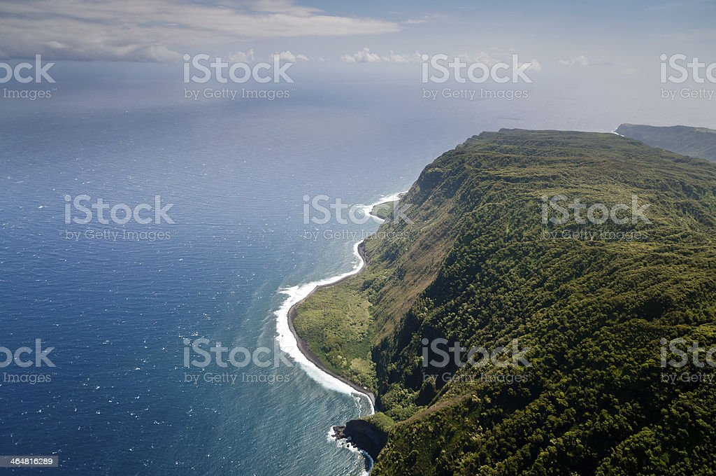 Molokai island coastline view from above stock photo